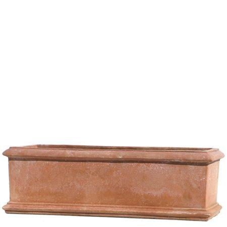 Cassetta liscia due bordi. Cassetta da fiori. Realizzato a mano da maestri artigiani con argilla di Impruneta, resistente al gelo.