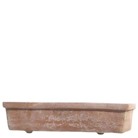 Cassetta da semina rettangolare. Cassetta da fiori. Forma a sezione rettangolare con buona capacità di terriccio, ingombro in profondità moderato, ottima stabilità al vento e adatta per piante. Realizzato a mano da maestri artigiani con argilla di Impruneta, resistente al gelo.