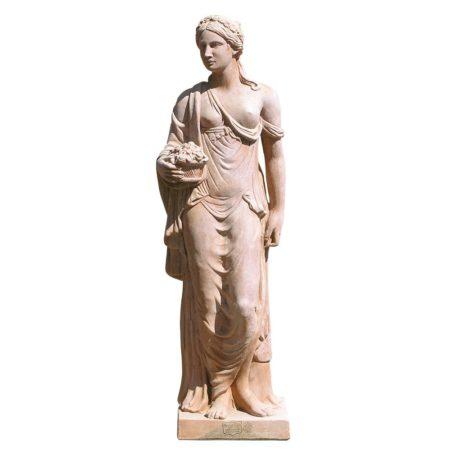 """Primavera """"Carrega"""". Statua classica. Realizzato in unica dimensione. Modellazione realizzata in alto rilievo. Fatto a mano da maestri artigiani con argilla di Impruneta, resistente al gelo."""