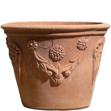 Vasetto decorato con goccia. La forma cilindrica del vaso lo rende esteticamente armonioso. Realizzato a mano da maestri artigiani con argilla di Impruneta, resistente al gelo.