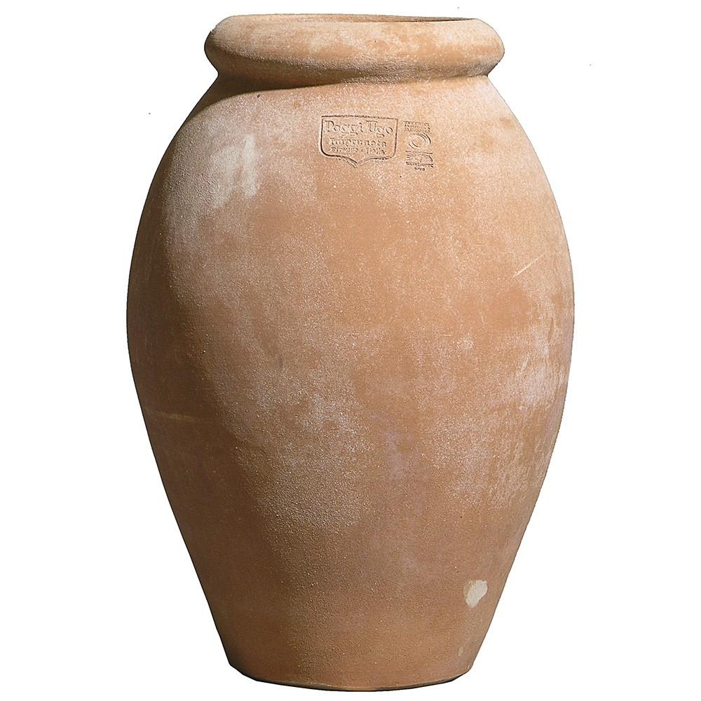 Orcio a oliva liscio, articolo di arredo. Eccellente impatto estetico e adatto per impieghi senza le piante. Realizzato a mano con argilla di Impruneta.