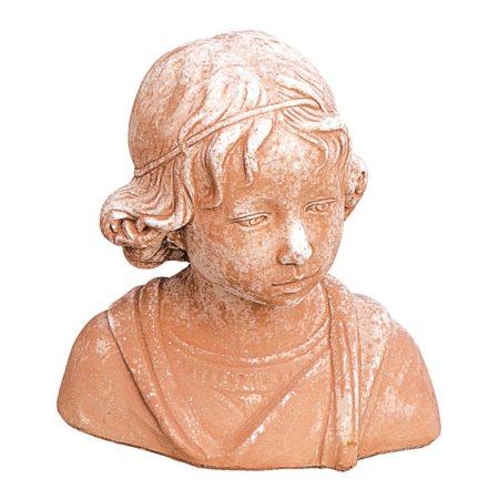 Busto di fanciullo - Andrea Della Robbia. Statua classica. Realizzato in unica dimensione. Modellazione realizzata in alto rilievo. Fatto a mano da maestri artigiani con argilla di Impruneta, resistente al gelo.