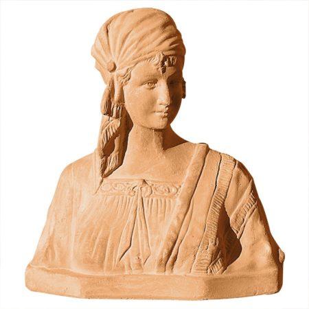Busto di zingara. Statua classica. Realizzato in unica dimensione. Modellazione realizzata in alto rilievo. Realizzato a mano da maestri artigiani con argilla di Impruneta, resistente al gelo.